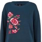Granatowy sweter z haftem róże