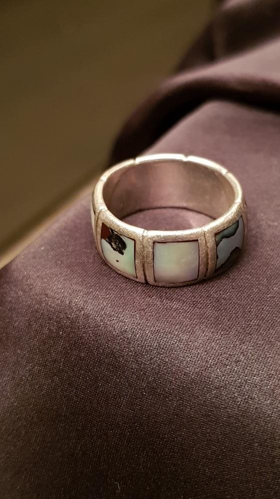 Obrączka pierścionek Srebro 925 masa perłowa