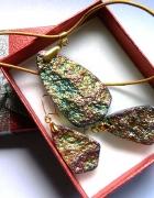 Tęczowy kryształ platerowany w złocie zestaw biżuterii...