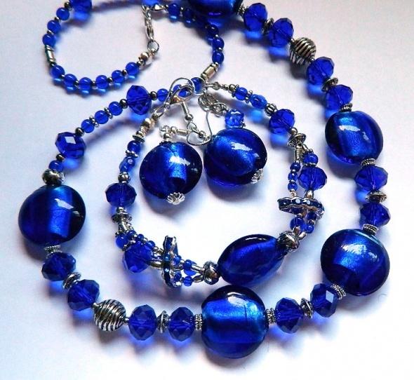 Kobaltowe szkło weneckie i kryształ zestaw biżuterii 3 elementy...