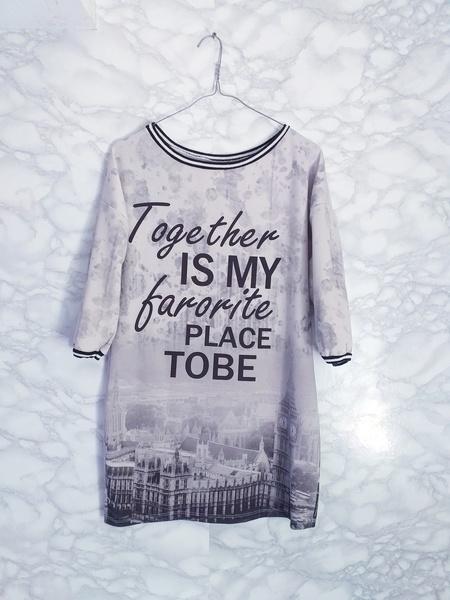Długa bluza jak sukienka tunika print miasto S M made in Italy