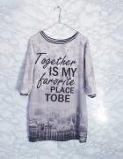 Długa bluza jak sukienka tunika print miasto S M made in Italy...