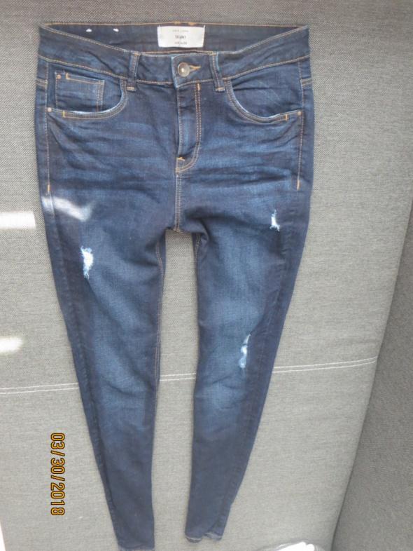 Spodnie New Look jeans przetarcia wysoki stan skinny