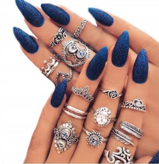 Zestaw 15 pierścionków boho vintage cyrkonie pierścionek kolor ...