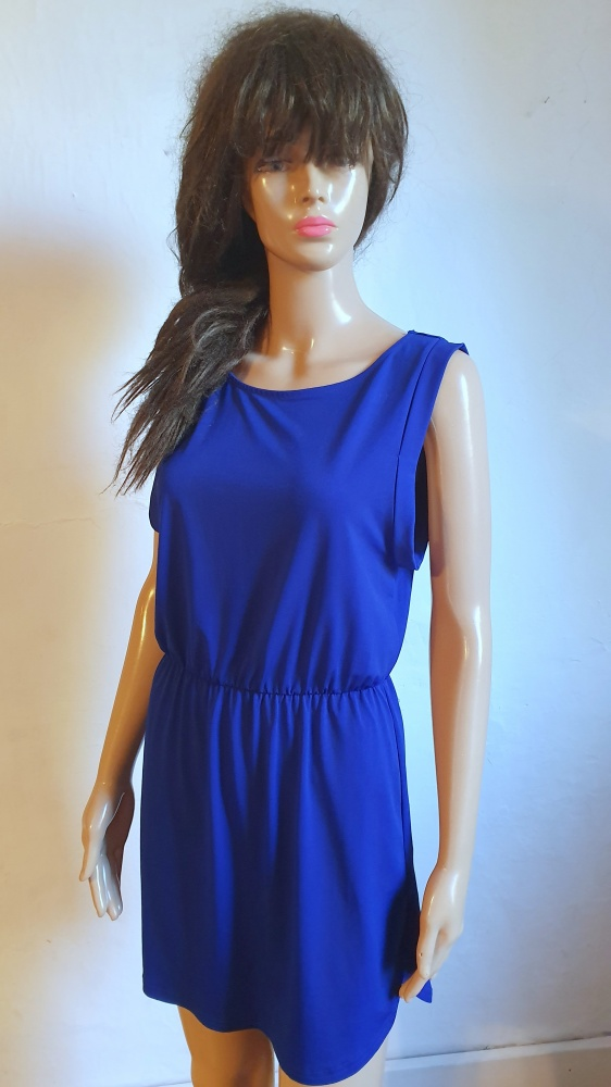 Kobaltowa lejąca sukienka r około L...