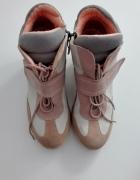 Sneakersy pódrowy róż Buty na konturnie różowo szare wiązane pa...