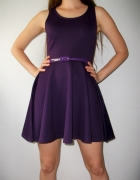 Mini rozkloszowana sukienka fioletowa bez rekawów...