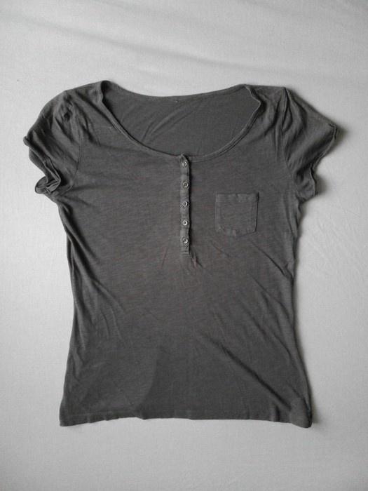 Szara bluzka koszulka guziki...