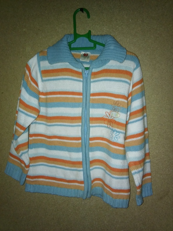 Pozostałe Rozsuwany sweterek dziewczęcy w pasy 104 cm 3 4 lata