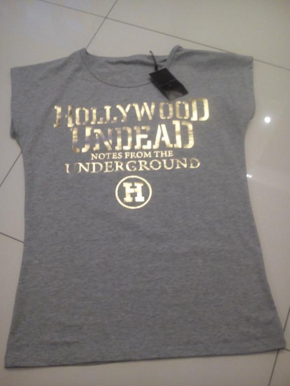NOWA szara koszulka ze złotymi napisami rozm M