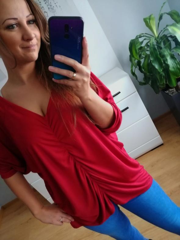 Czerwona luźna maskująca bluzka 48 V by Very...