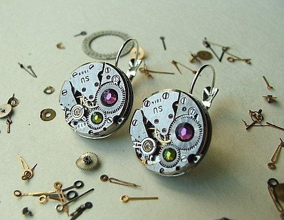 Kolczyki steampunk zegar mechanizm rubiny cyrkonie swarovsk