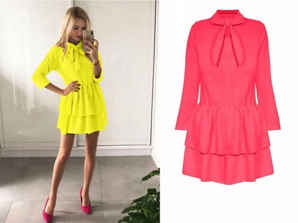 Sukienka mini wiązany dekolt koral rozmiar S...
