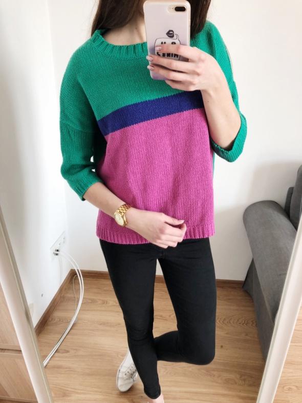 sweter sweterek XS S 34 36 neonowy zielony różowy luźny oversiz...