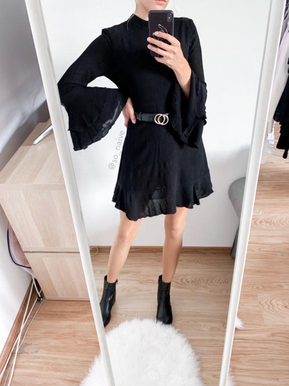 zara czarna sukienka z szerokimi rękawami hiszpanka S 36 rozklo...