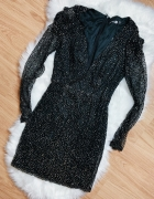 sukienka czarna ze złotymi cekinami S 36 boohoo cekiny błyszczą...