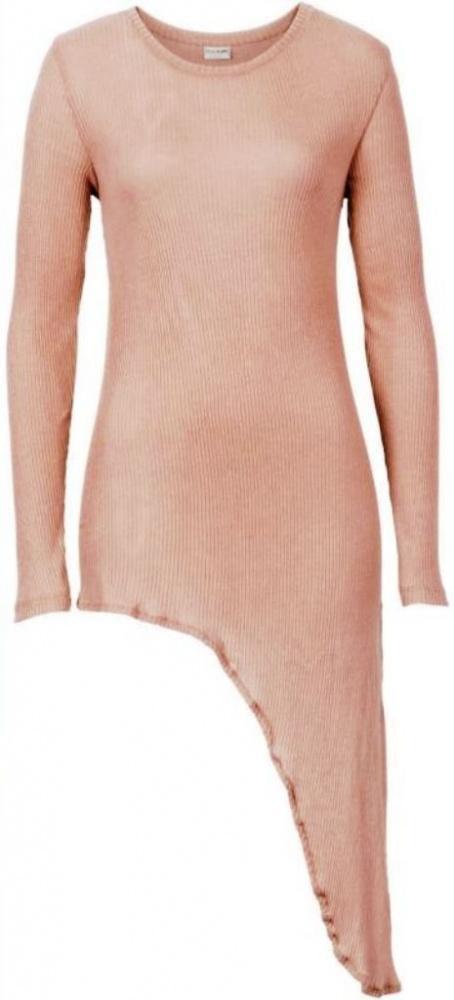 Beżowa asymetryczna tunika z wiązaniem