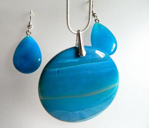 Błękitne agaty i srebro elegancki zestaw biżuterii...