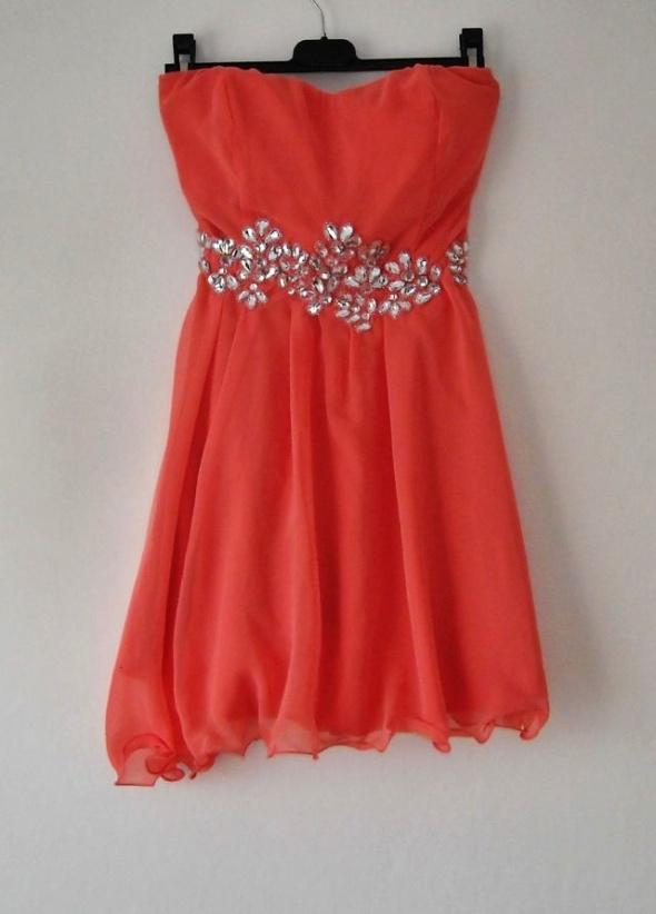 koralowa sukienka ax paris s...