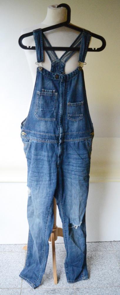 Kombinezony Ogrodniczki Jeans Dzinsowe H&M S 36 Dziury Rurki Dzins