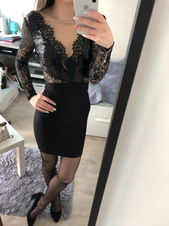 Sukienka elegancka czarna koronka cekiny Lipsy london...