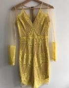 Śliczna sukienka mini koronkowa limonkowa nude siateczka Pink B...