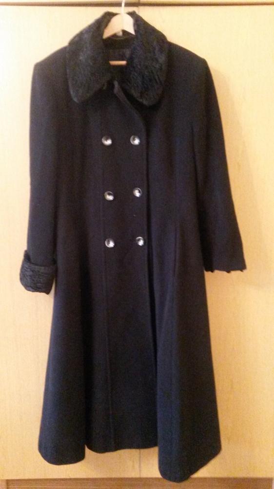 Długi czarny wełniany płaszcz damski 158 92 100...