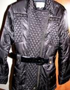 N O W A xxl xlczarna kurtka z paskiem w komplecie...