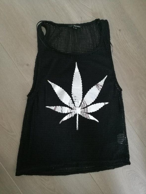 Koszulki czarna koszulka marihuana siatka XS Tally Weijl