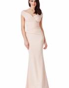 Beżowa długa sukienka na wesele z efektownym marszczeniem w tal...