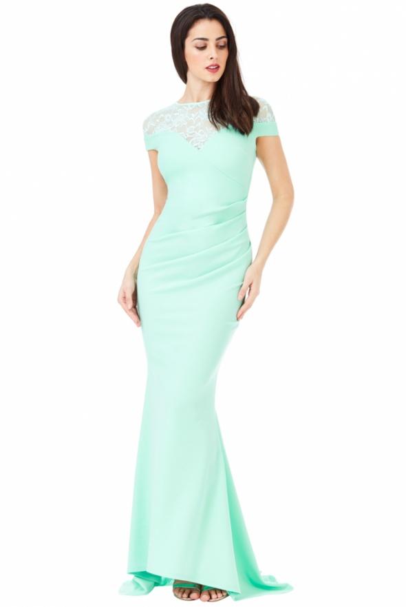 Suknie i sukienki Miętowa długa sukienka na wesele z koronką trenem