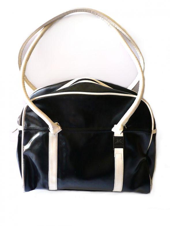 Czarna biała duża torba Diverse mieści A4 skórzana...