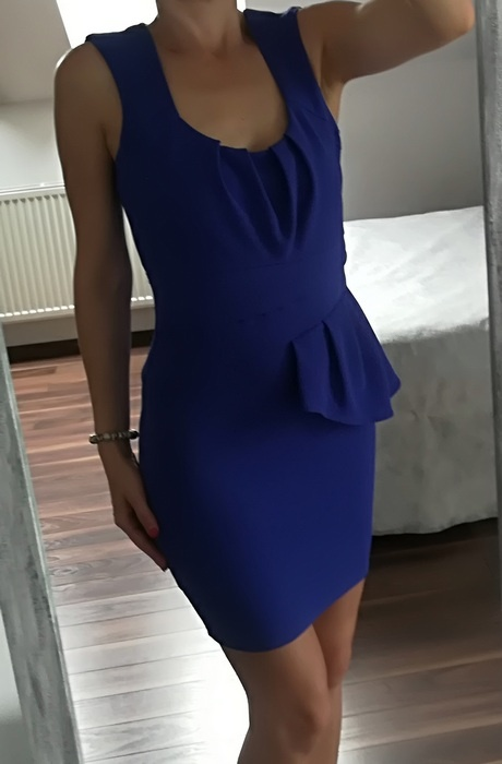 Lipsy niebieska sukienka baskinka S M...