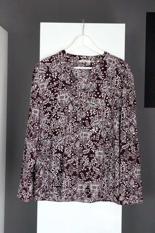 koszula bluzka brąz bordo burgund wiskoza zwiewna wzorzysta floral lato letnia