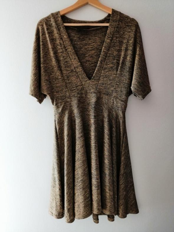 Dzianinowa złota sukienka melanż AX Paris 40 L