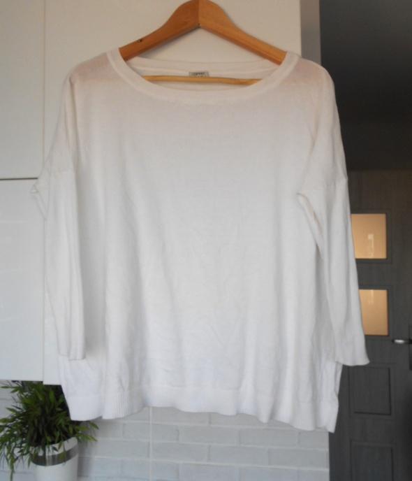 Swetry Esprit klasyczny biały sweter oversize nietoperz