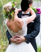 Cudowna suknia ślubna Sabe Miles bolerko welon 2w1