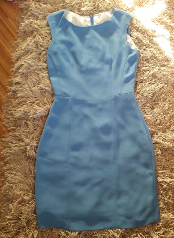 niebieska elegancka sukienka 34 xs super