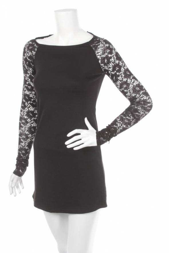czarna sukienka z koronką xs