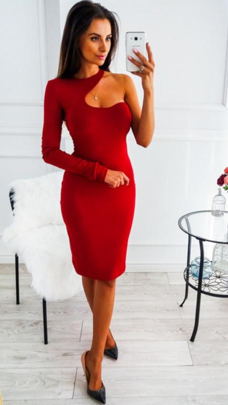 burgundowa bordowa sexy sukienka XS S