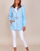 błękitna dłuższa bluza wiązan w pasie CUDO 36