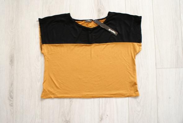 Koszulka crop top oversize zipy musztardowa