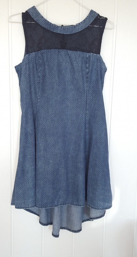 Suknie i sukienki Asymetryczna rozkloszowana sukienka L 40 granatowa kropki jeans dżins