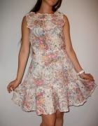 Letnia sukienka w kwiatuszki sukienka na lato falbany kwiatki d...