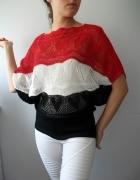 Ażurowy koronkowy sweter nietoperz w serca czerwono biało czarny s m