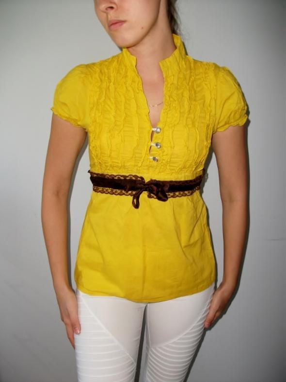 Żółta elegancka bluzka z falbankami żabotem kokardką krótki rękaw ze stójką xs