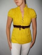 Żółta elegancka bluzka z falbankami żabotem kokardką krótki ręk...