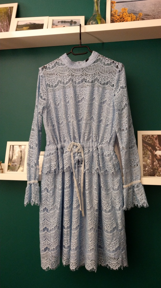sukienka boho koronkowa błękitna wesele...
