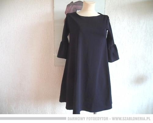 Granatowa włoska sukienka odcinany rękaw...