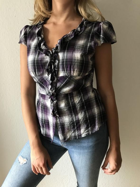 Koszule Koszula w fioletową kratę Orsay żabot taliowana